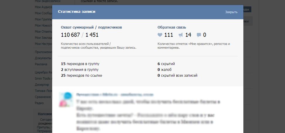 Статистика записей в ВКонтакте.