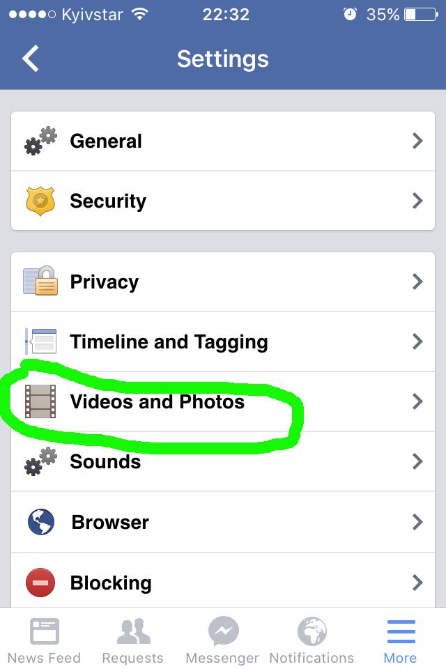 Как отключить автозапуск видео в Facebook на айфоне